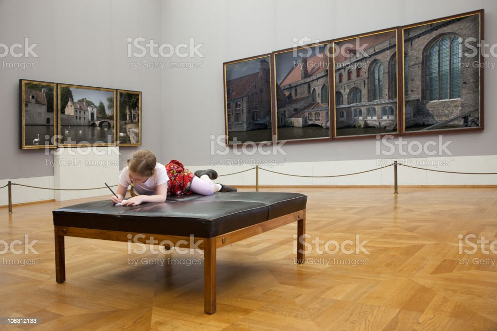 Girl at the museum stock photo