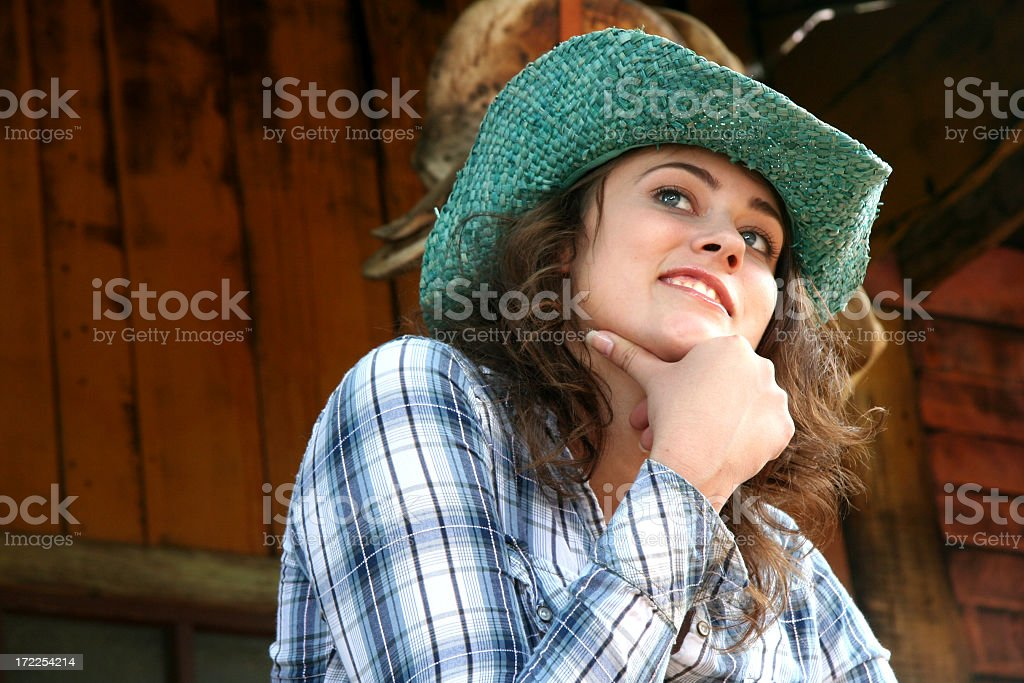Girl at the Ranch stock photo