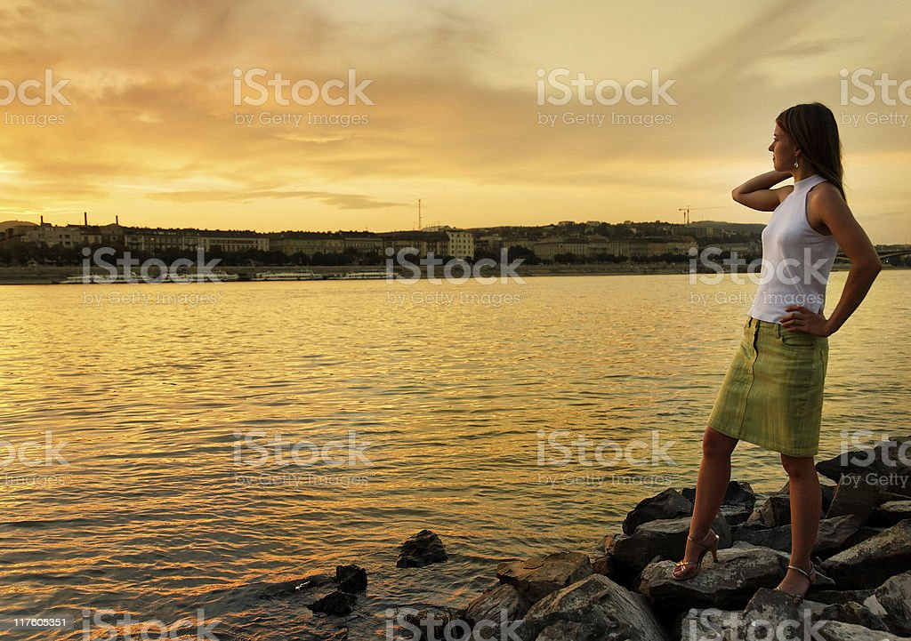 Girl at the river royalty-free stock photo