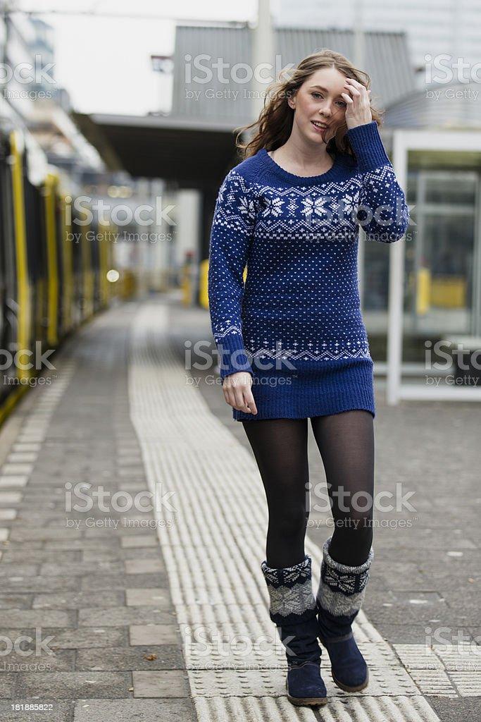 girl at train station royalty-free stock photo