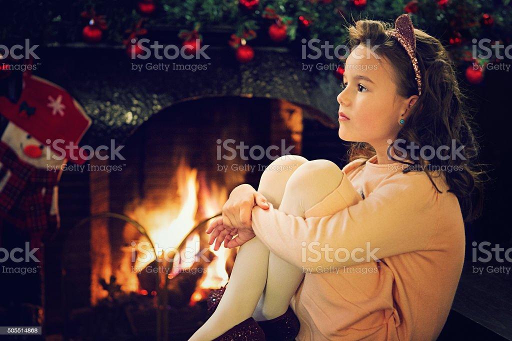 Girl at Xmas stock photo