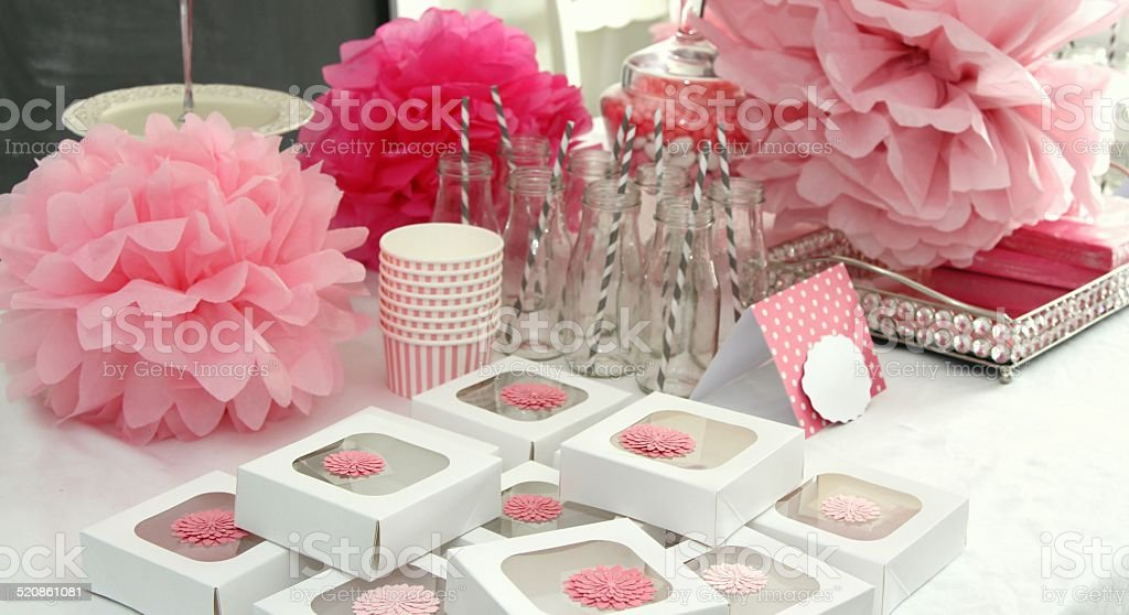 Girl baby shower table decorations in pink stock photo