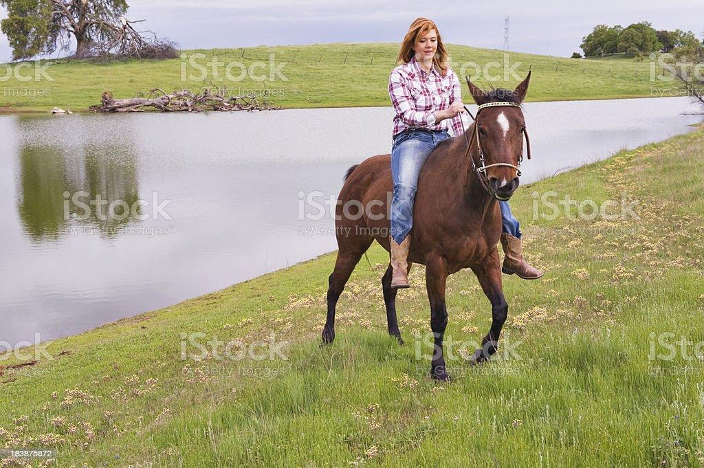 Girl Bareback on Horse royalty-free stock photo
