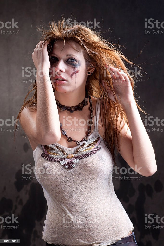 girl beaten up royalty-free stock photo