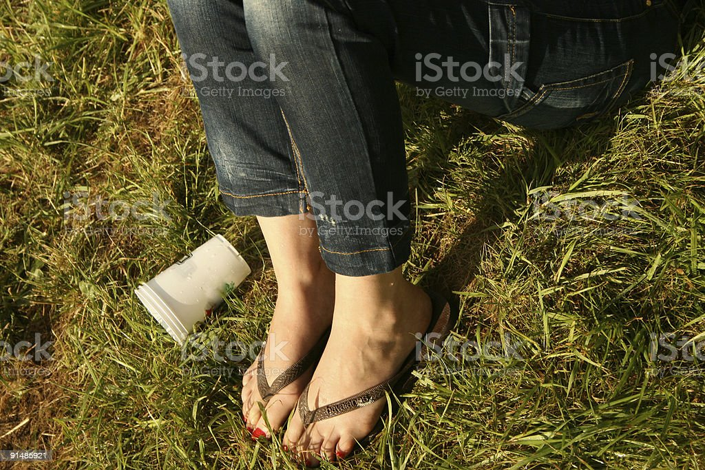 girl, beer & festival rock stock photo