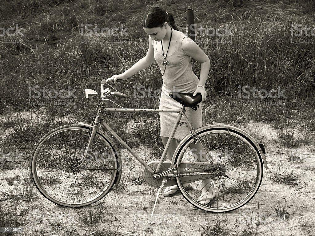 Girl & Bike stock photo