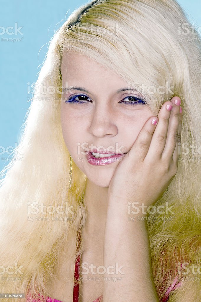 girl  blonde suffers from a toothache royalty-free stock photo