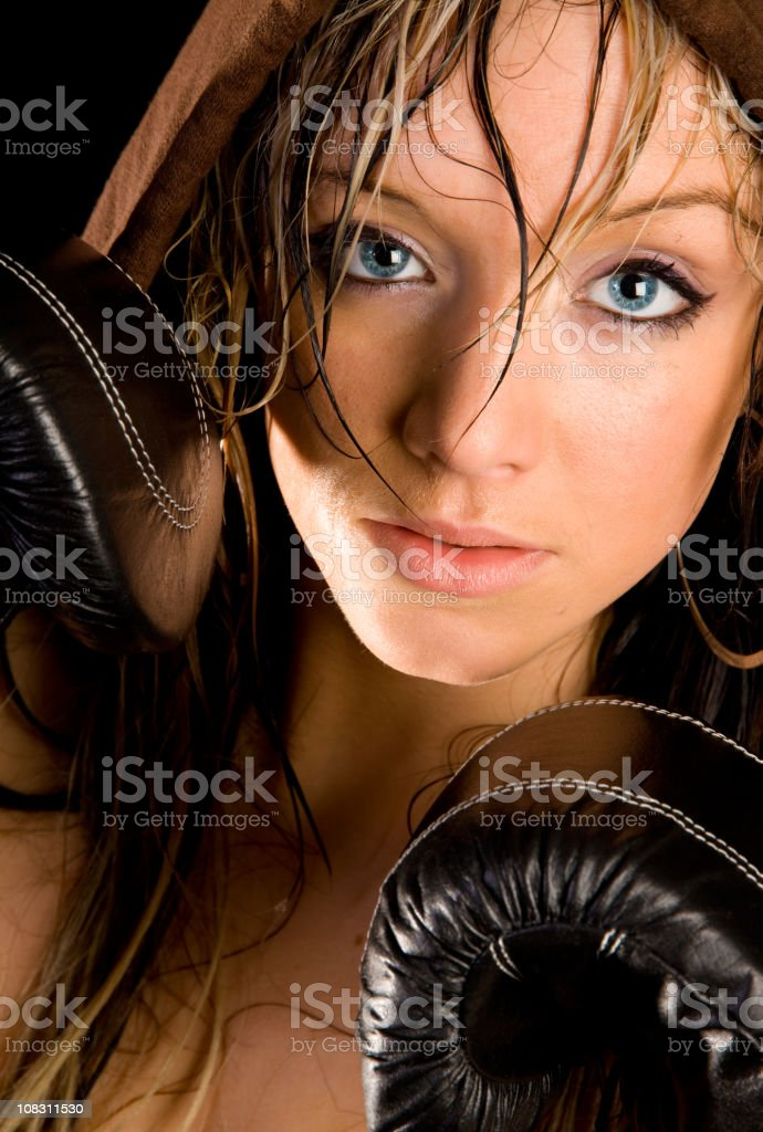Girl boxer stock photo