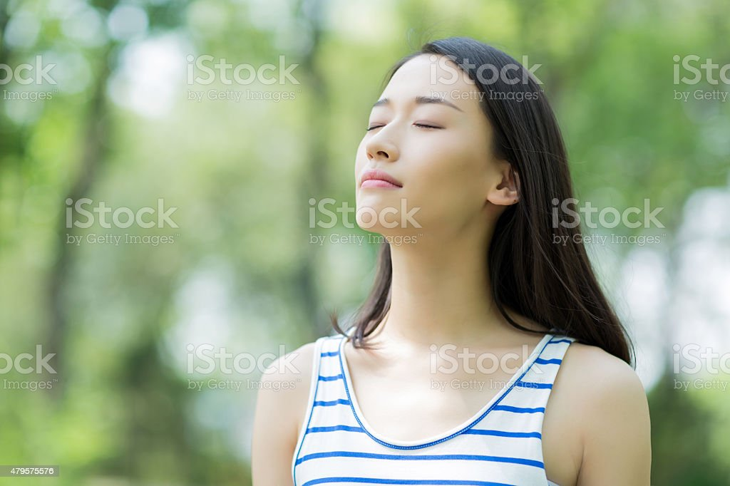 girl breathing stock photo