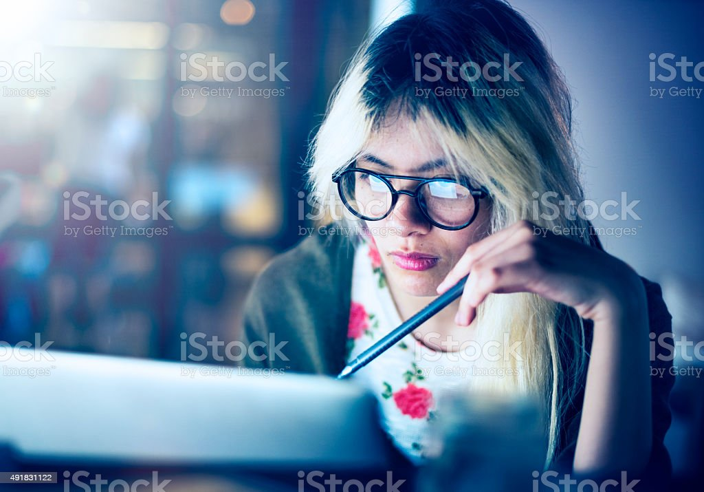 Girl Browsing Searching Computer Concept stock photo
