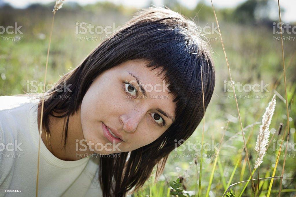 Girl, brunette stock photo