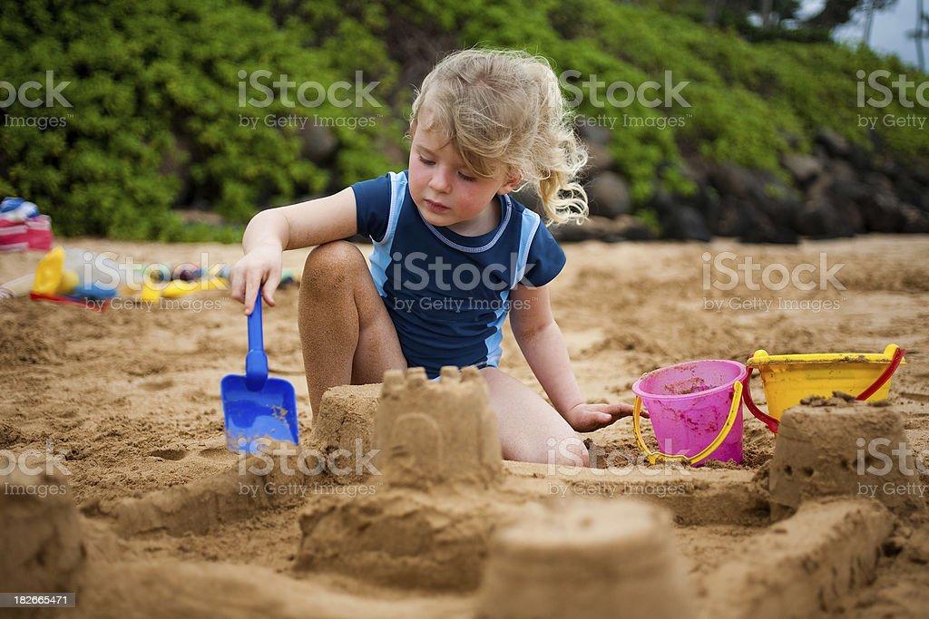 Girl Building Sandcastle royalty-free stock photo