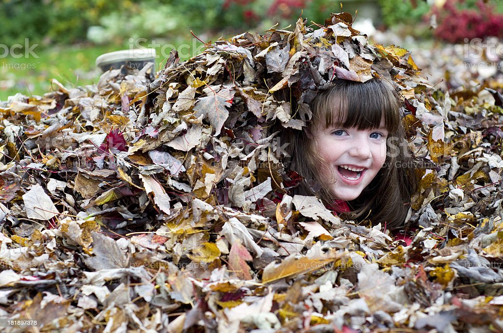 girl buried in Fall leaves royalty-free stock photo