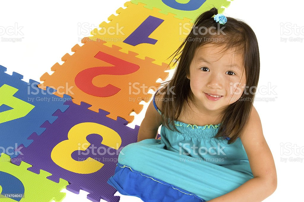 Girl by Hopscotch Game royalty-free stock photo