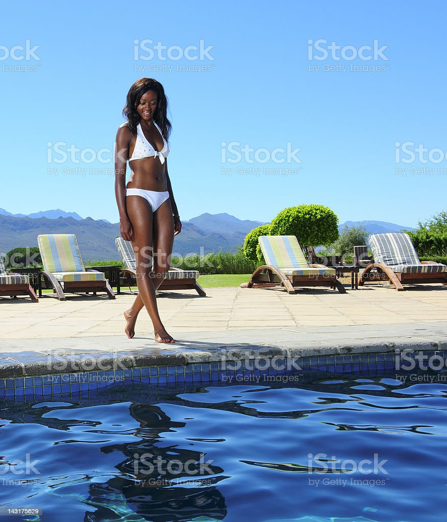 Girl by Swimming Pool royalty-free stock photo