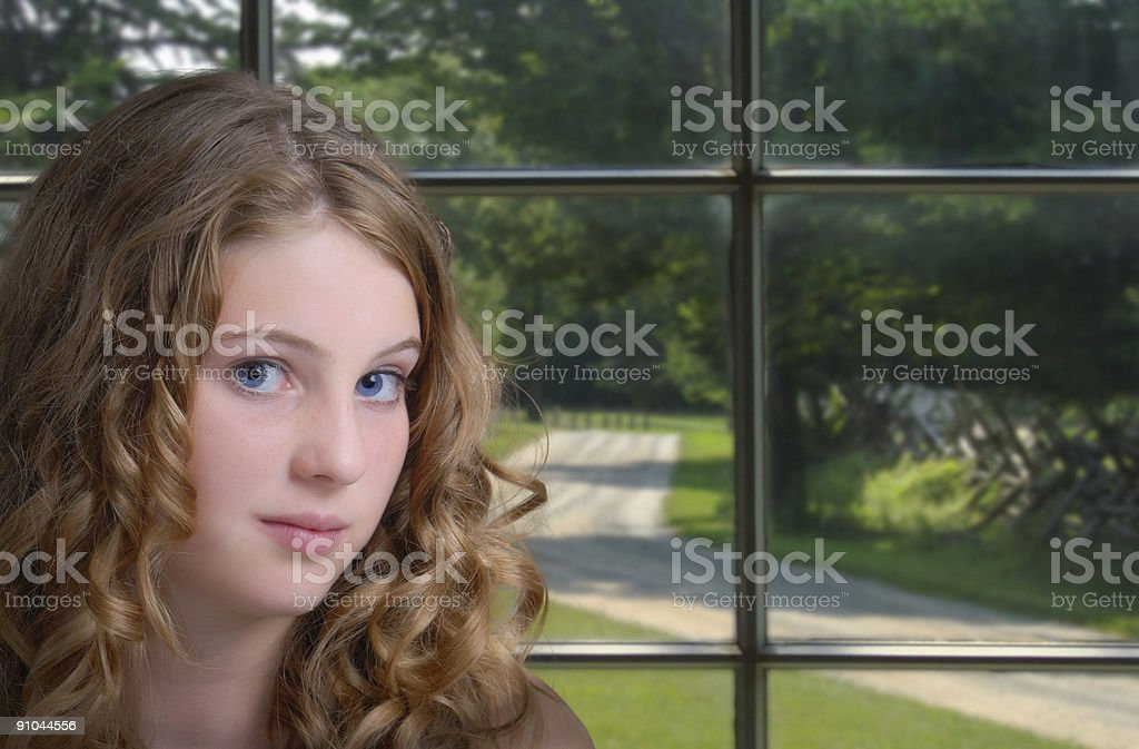Girl by Window royalty-free stock photo