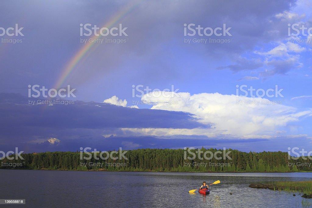 Girl canoeing royalty-free stock photo
