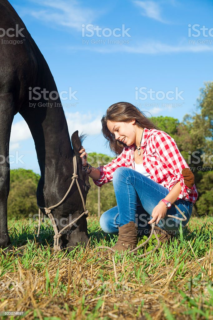 Girl caressing horse stock photo