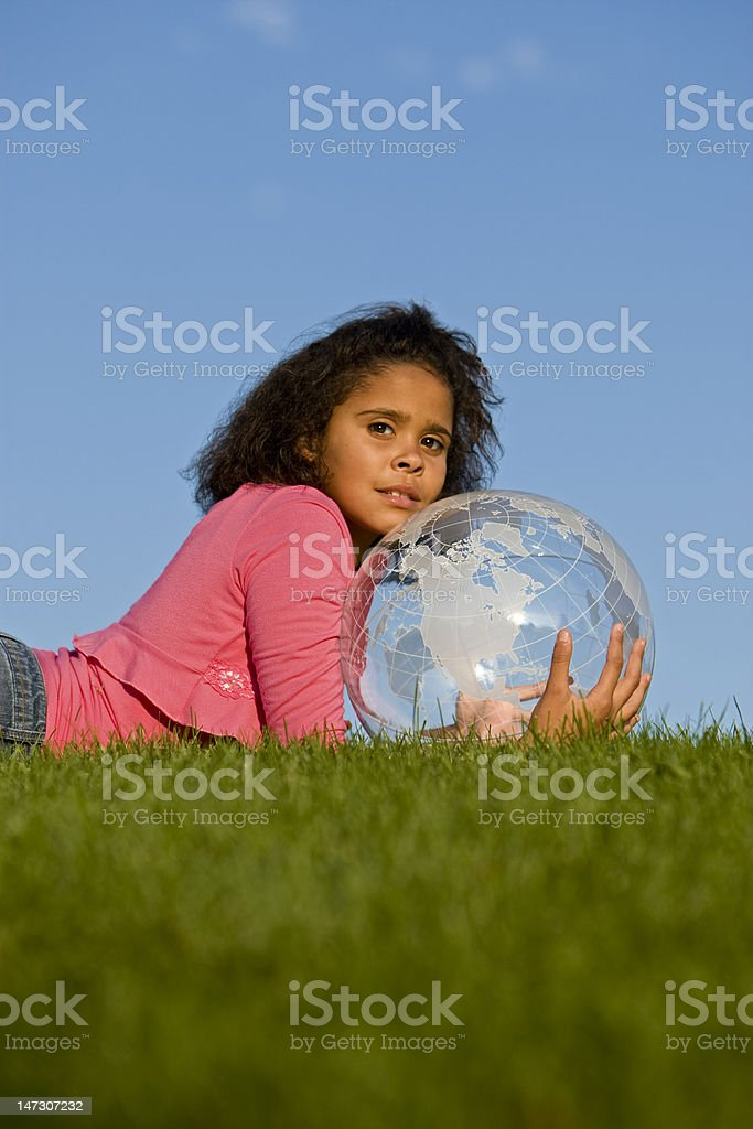Girl caring for the earth royalty-free stock photo
