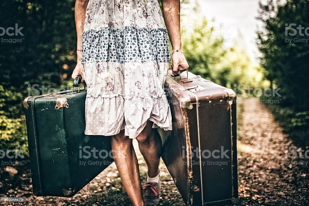 Girl carries bags stock photo