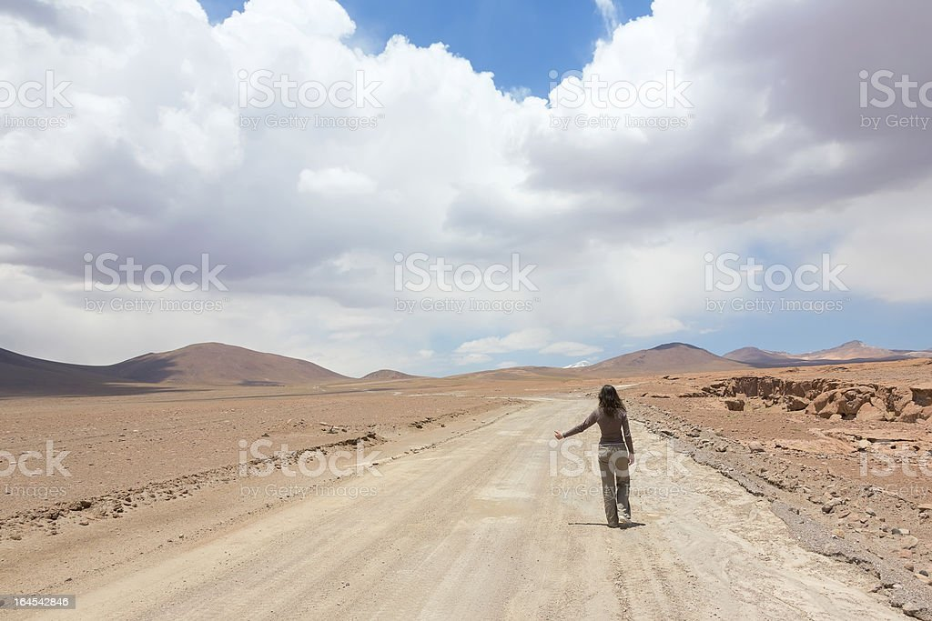 Girl catching the car royalty-free stock photo