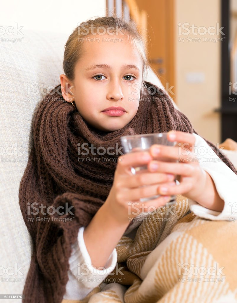 Girl caught a cold stock photo