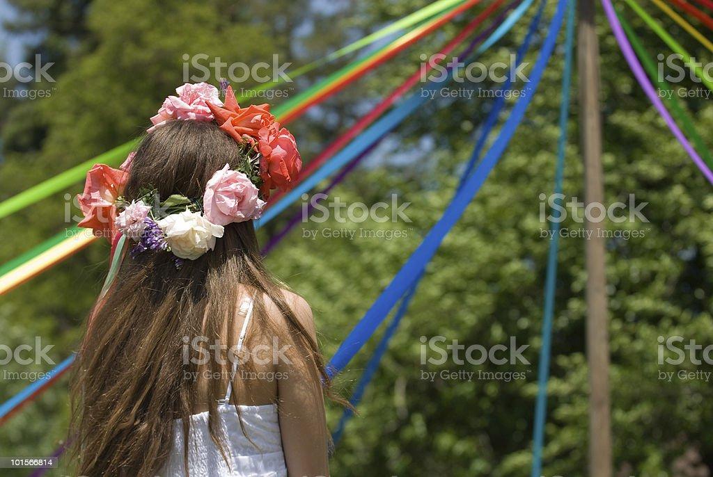 Girl Celebrating May Day stock photo