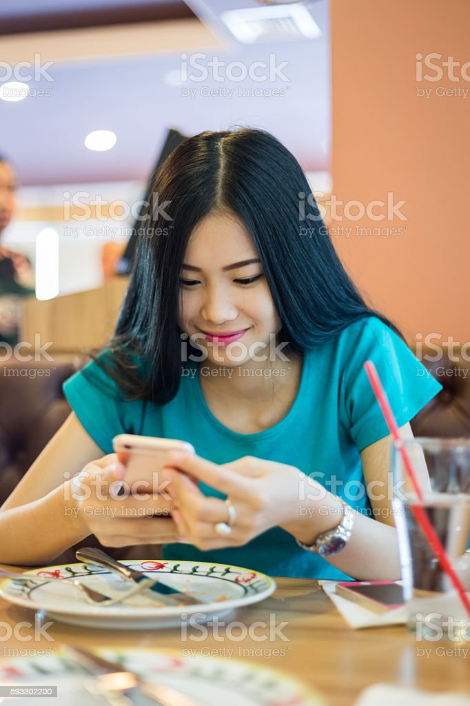 Girl chat Social Network stock photo