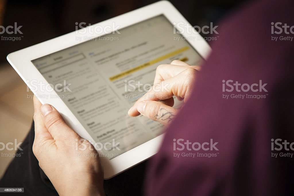 Girl checking mail stock photo