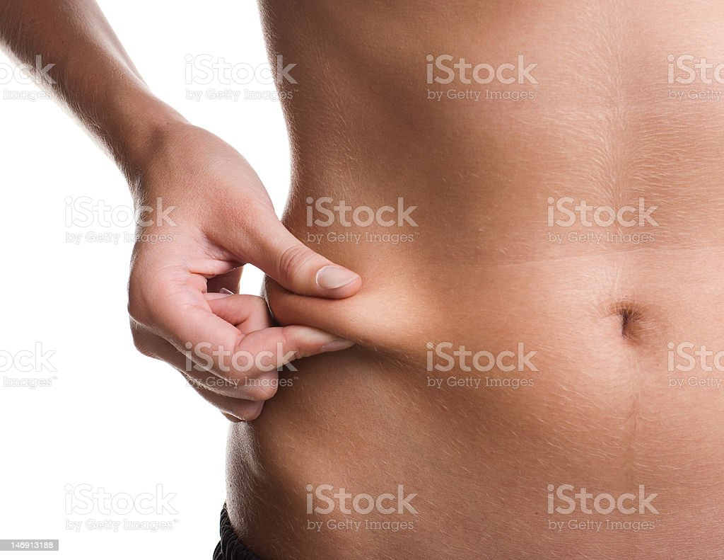 girl checks the waist royalty-free stock photo