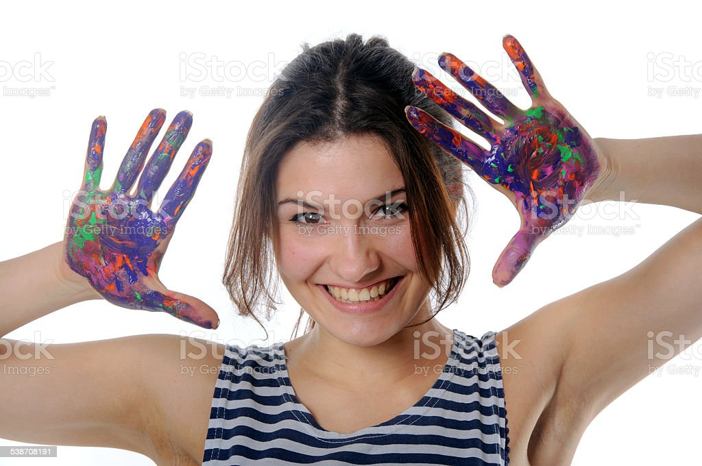 Girl cheerfully laughs against an isolated background stock photo