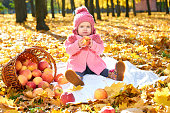 girl child in autumn park with apples sit  yellow leaves