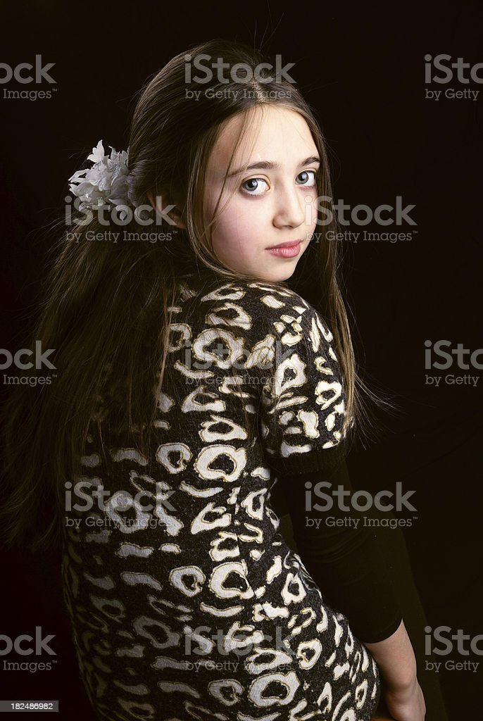 Girl child looking backwards royalty-free stock photo