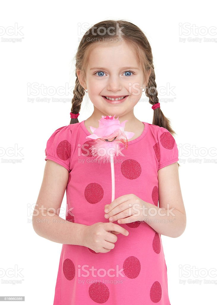 Girl child portrait in red dress stock photo