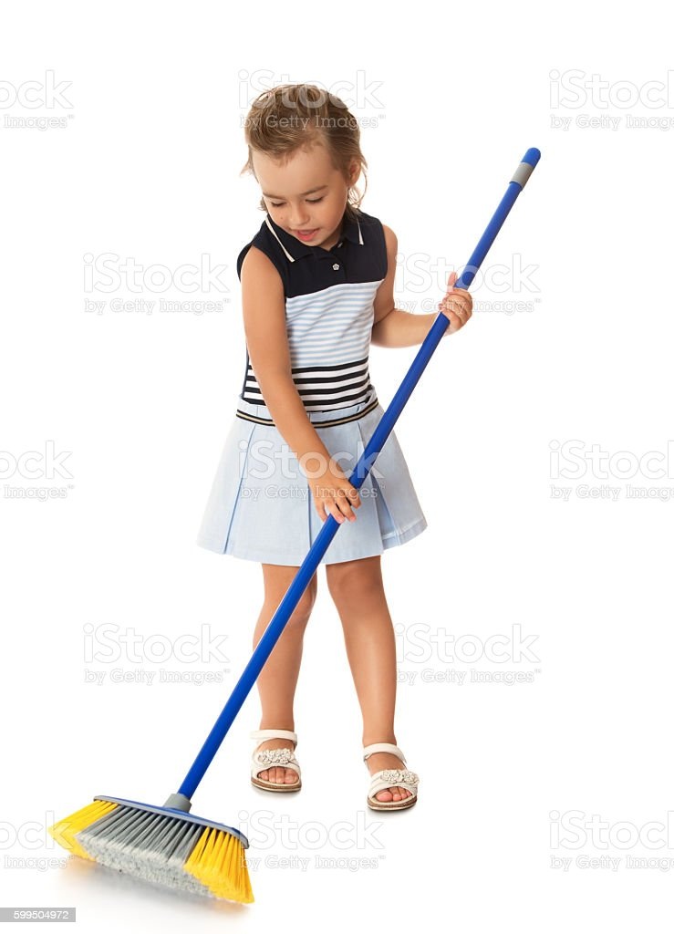 Girl cleans apartment stock photo