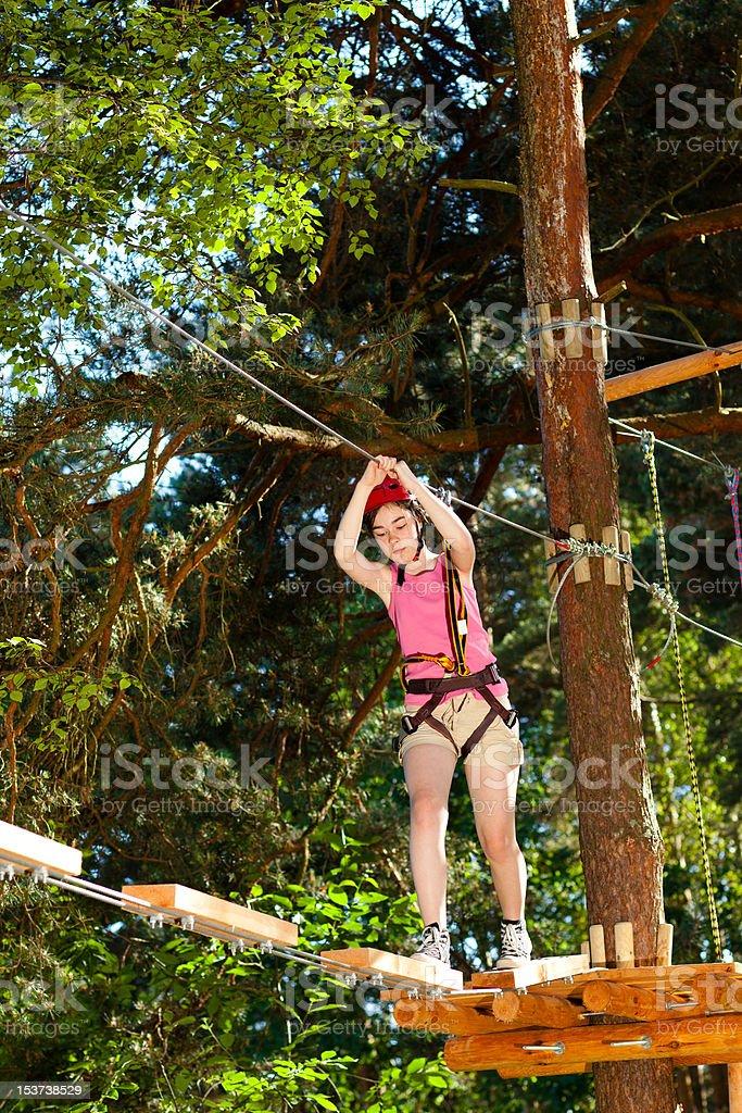 Girl climbing in adventure park stock photo
