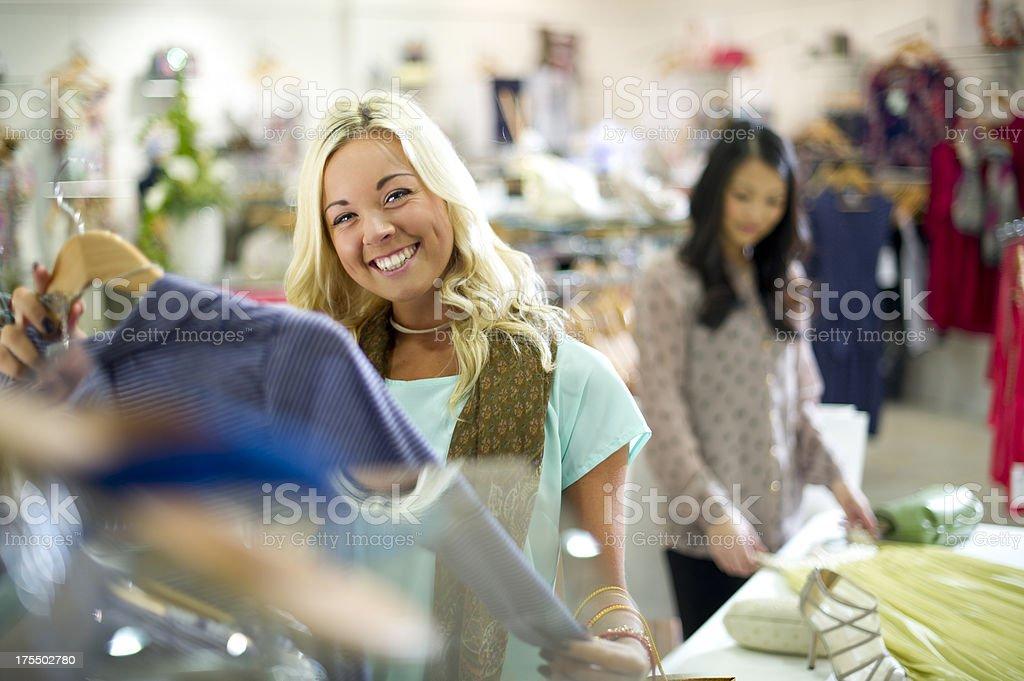 girl clothes shopping stock photo