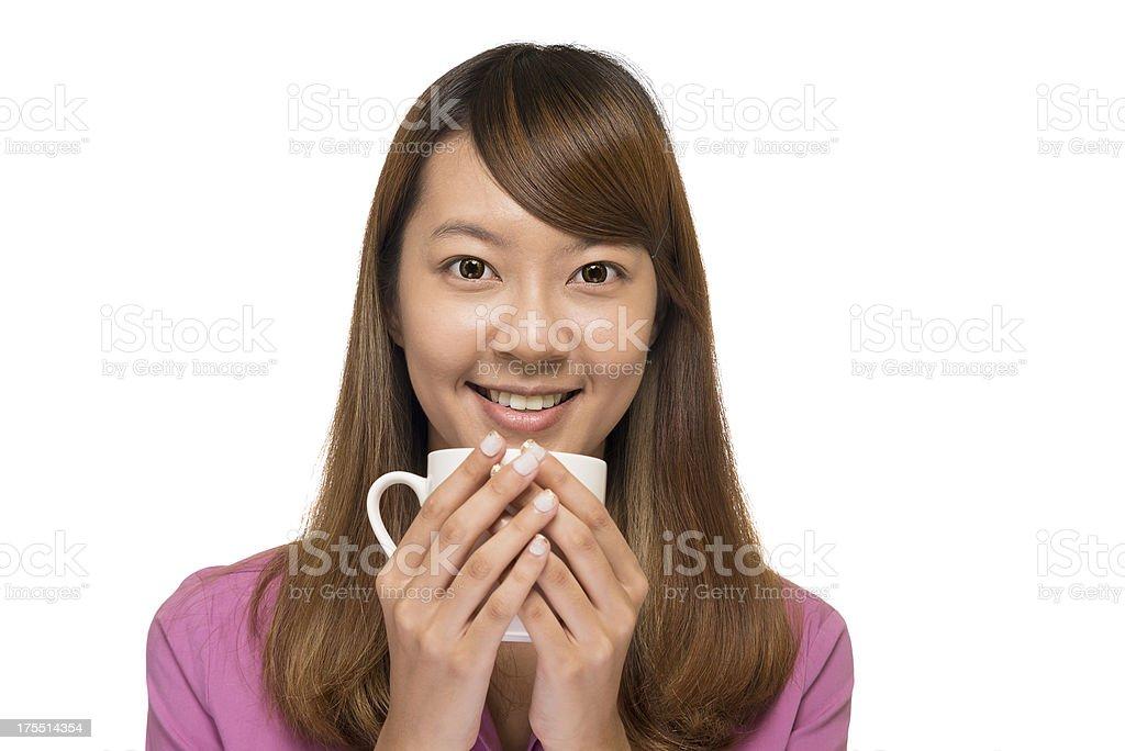 Girl, Coffee and White Mug royalty-free stock photo