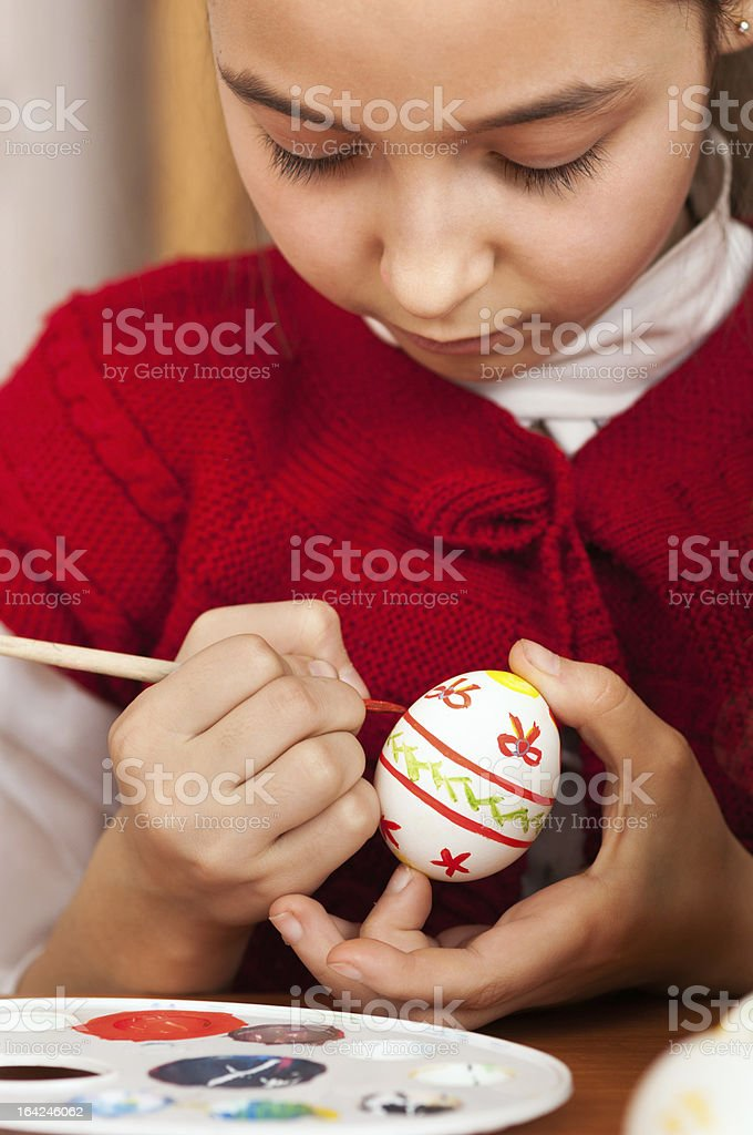 girl colored Easter eggs royalty-free stock photo