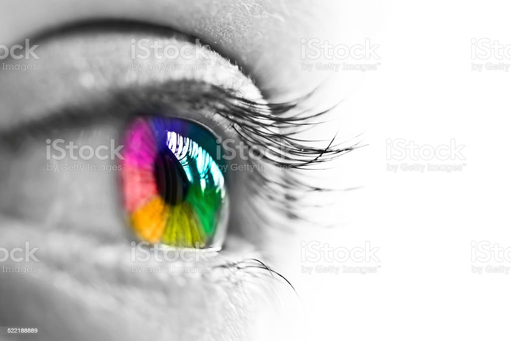 Girl colorful and natural rainbow eye on white background stock photo
