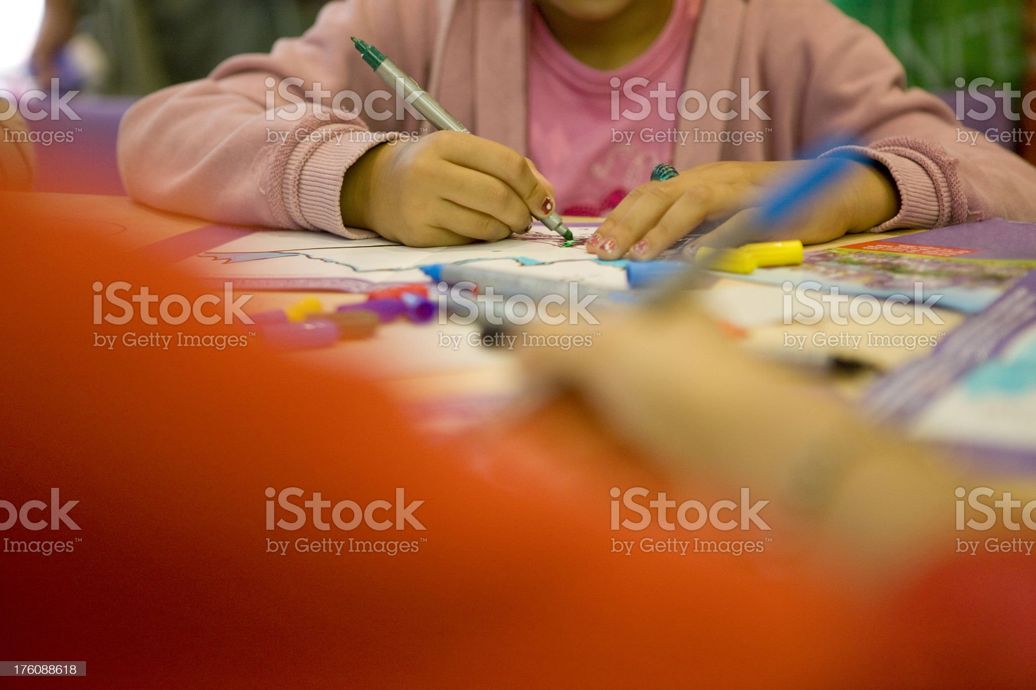 Girl coloring royalty-free stock photo
