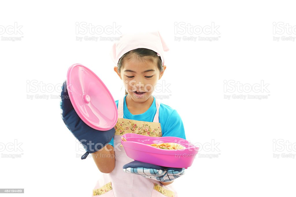 Girl cooking healthy food stock photo