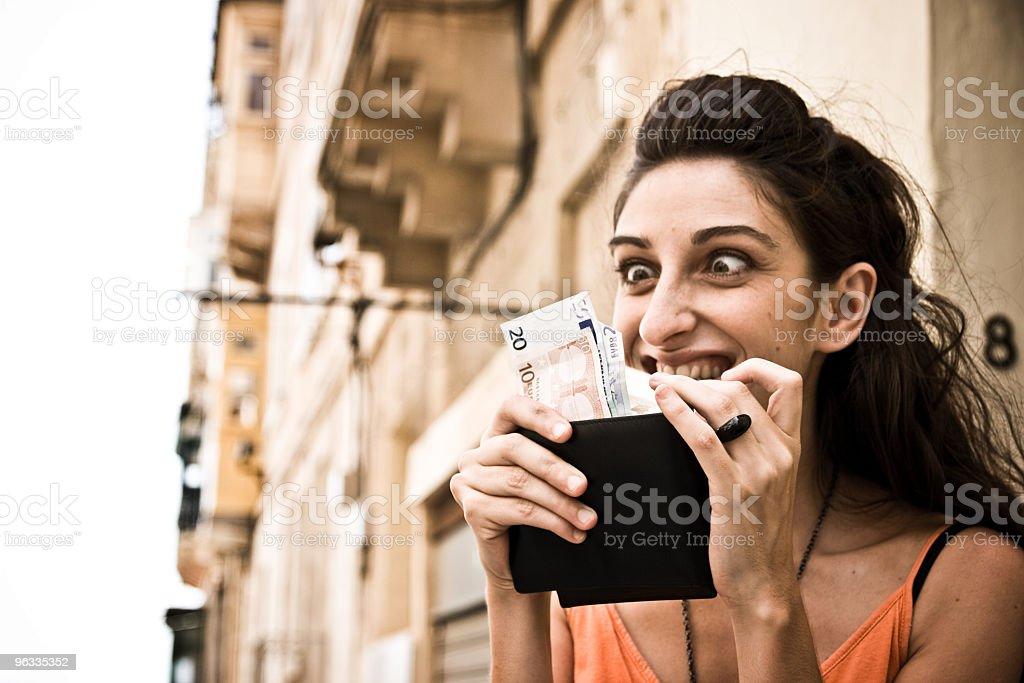 Girl counting Euros, Money addiction royalty-free stock photo