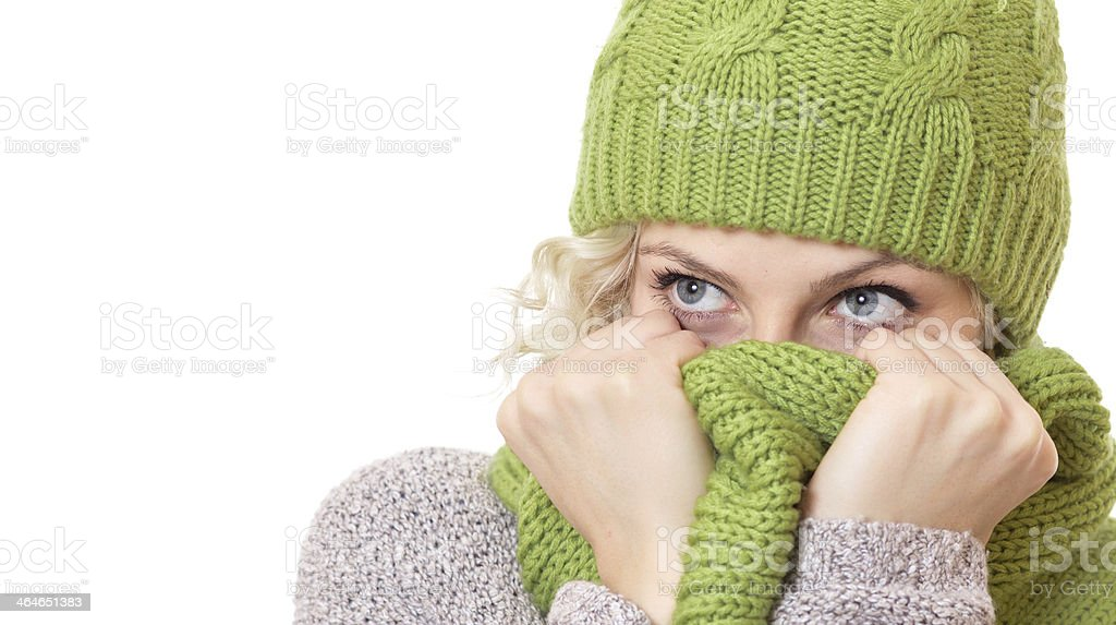 Girl covered her mouth and nose or face with scarf stock photo