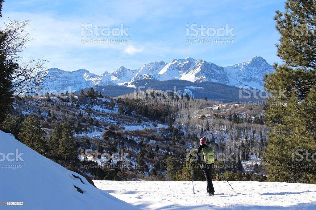 Girl Cross-Country Skiing Mountains stock photo