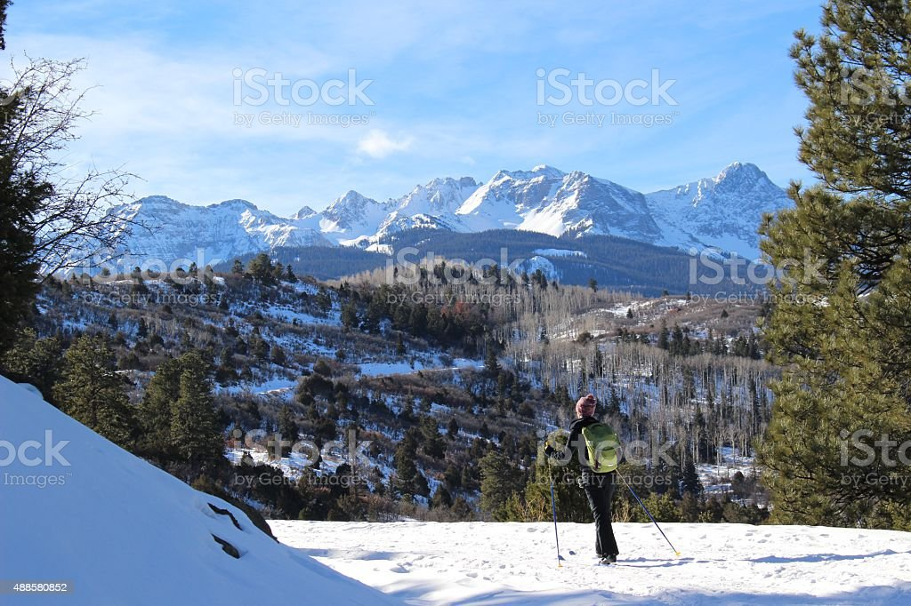 Girl Cross-Country Skiing Mountains stock photo
