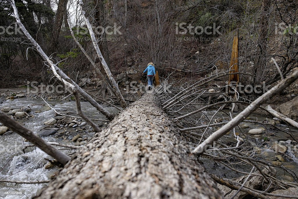 Girl Crossing Flowing Creek Over Dead Tree stock photo