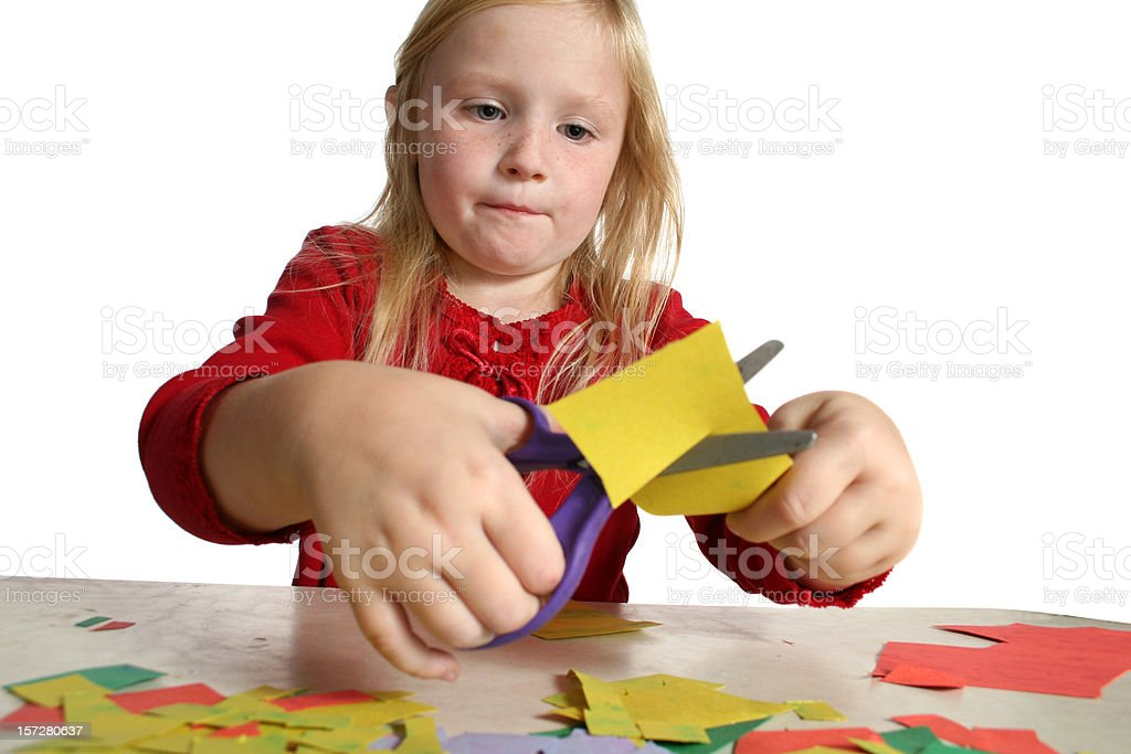 girl cutting paper 3 royalty-free stock photo