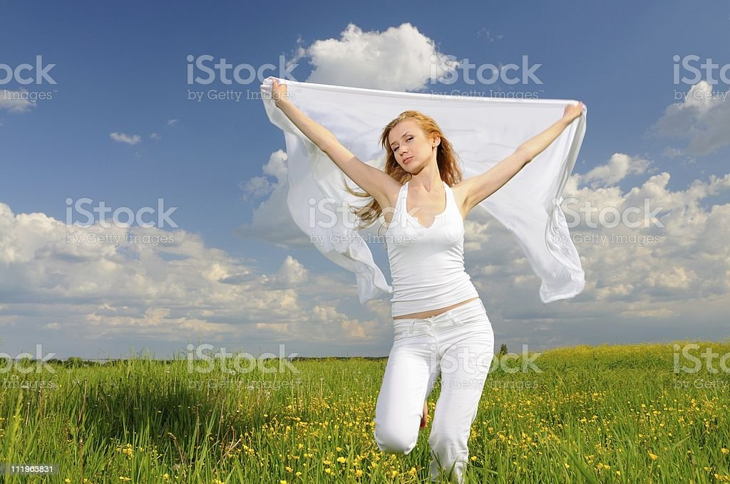 Girl dance on field royalty-free stock photo