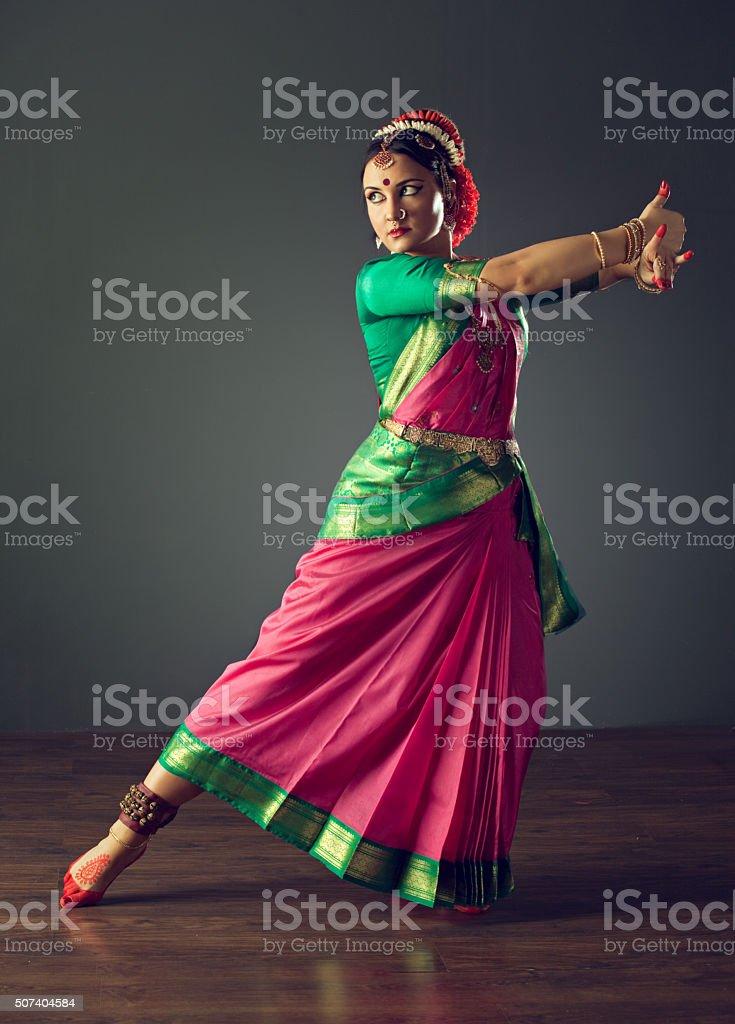 Girl dancing classical indin dance Kuchipudi. stock photo